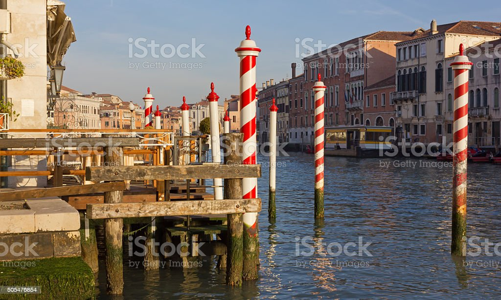 Terrace on the Canal Grande in Venice stock photo