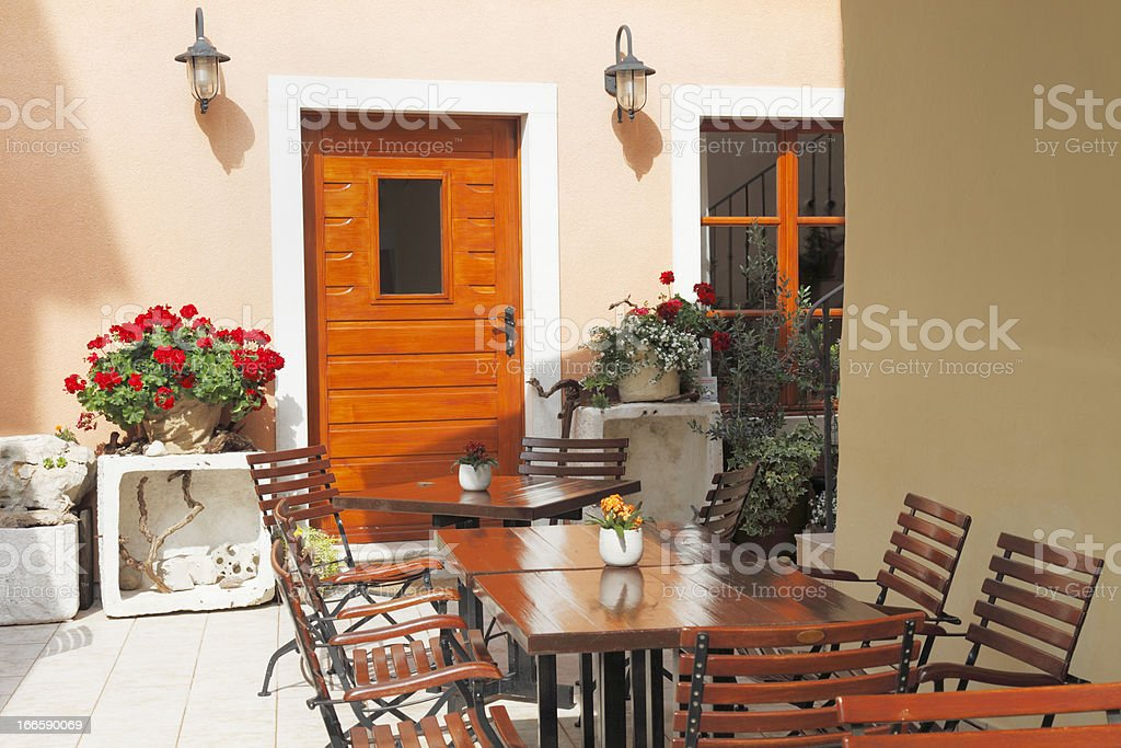 terrace restaurant tables and chairs of  cafe bar Croatia royalty-free stock photo