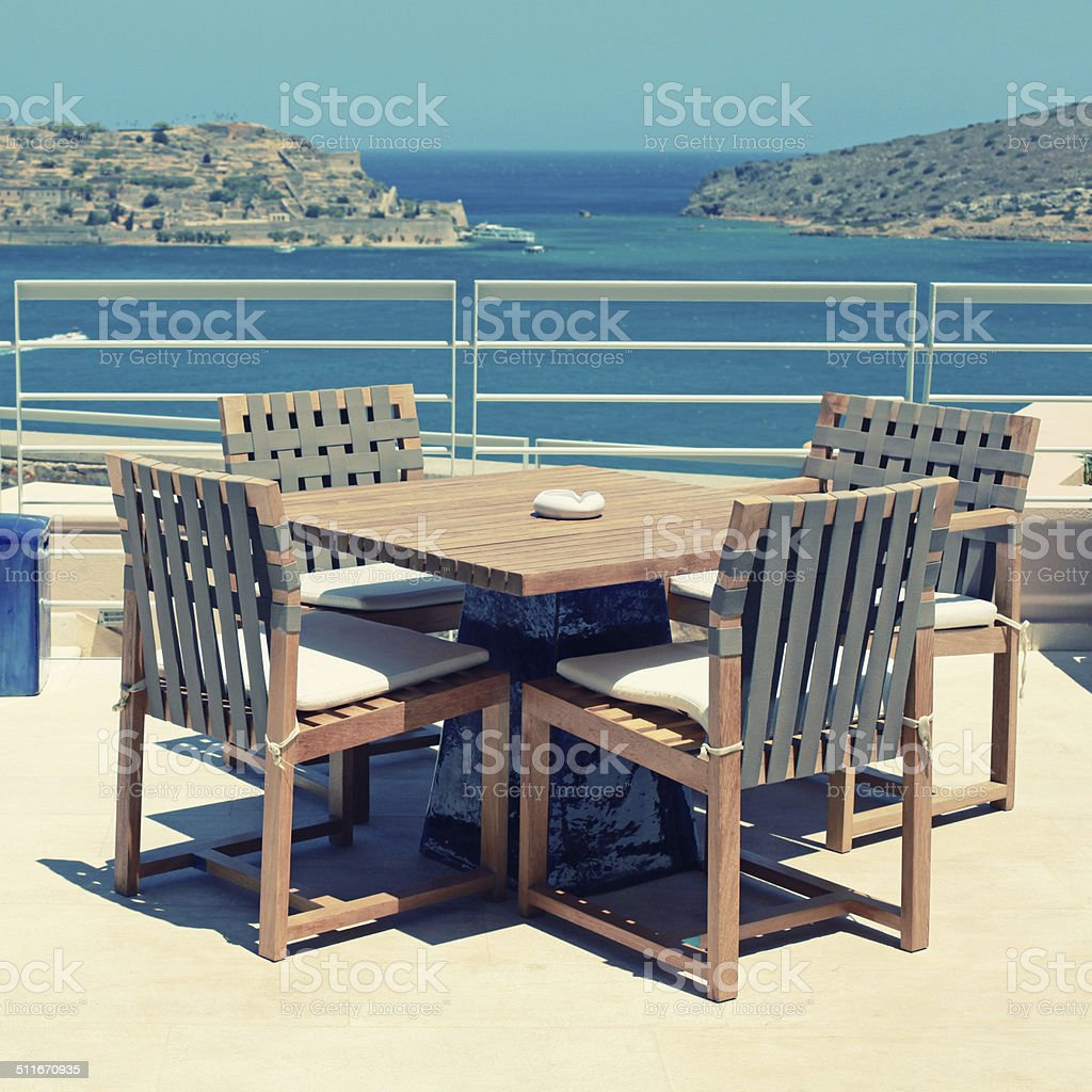 Terrace seaview with outdoor furniture in a luxury resortcrete greece stock image