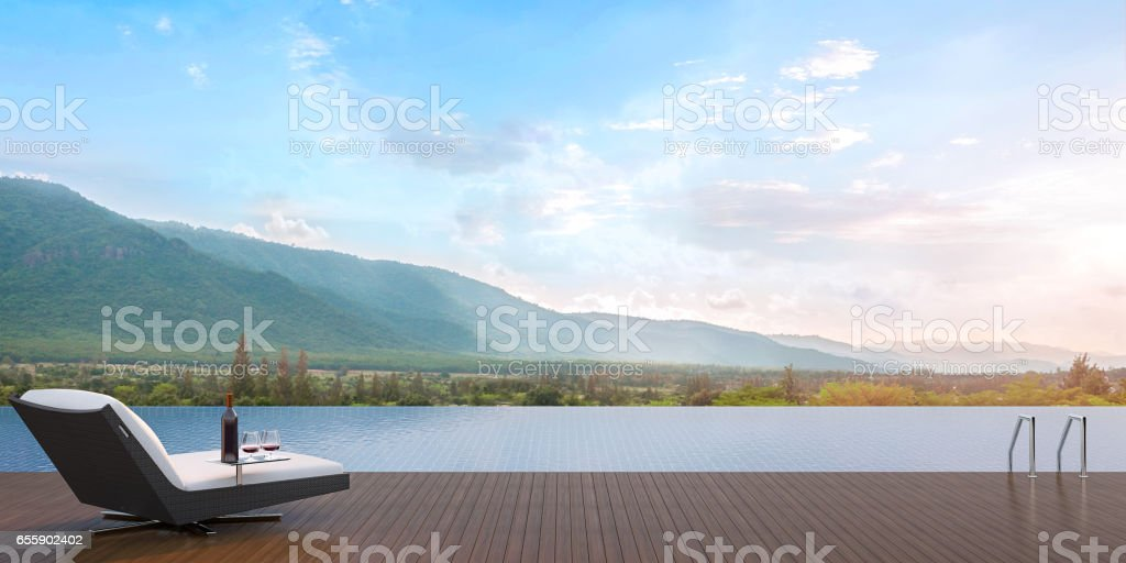 Terrace swimming pool 3D Rendering Image stock photo