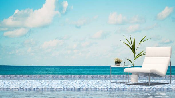 terrace swimming pool and sea view stock photo