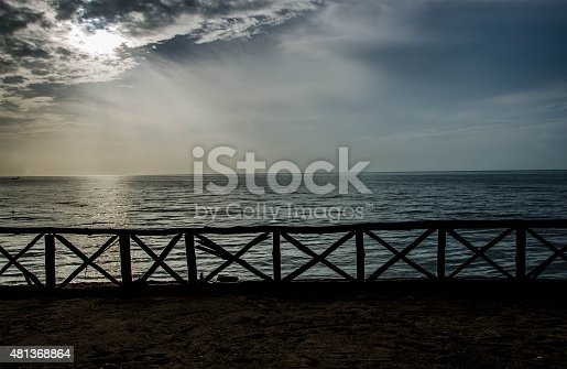 istock terrace view with blue sea 481368864