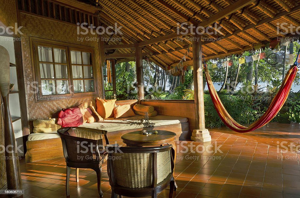 terrace with hammock in sunrise royalty-free stock photo