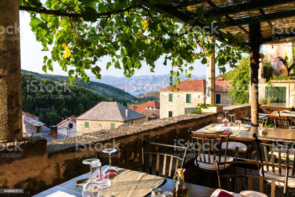 terrace with sea and mountain view - Croatia stock photo