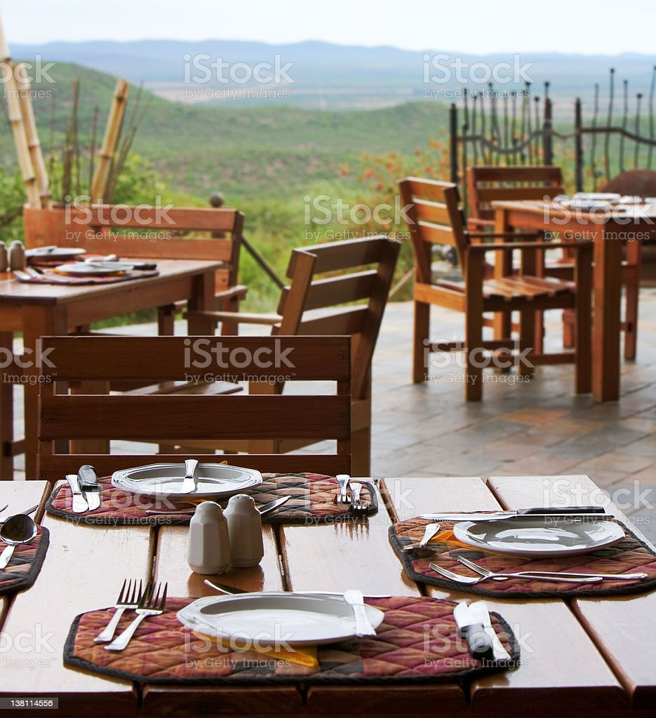 Terrace  with tables in Namibia royalty-free stock photo