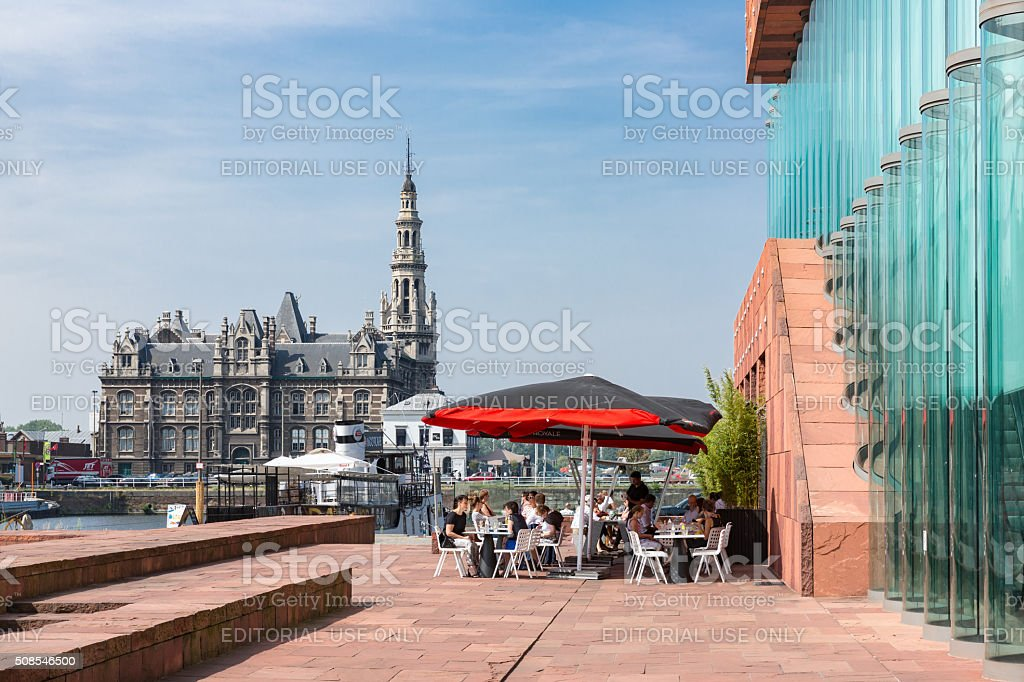 Terrace with unknown people near museum MAS of Antwerp, Belgium stock photo