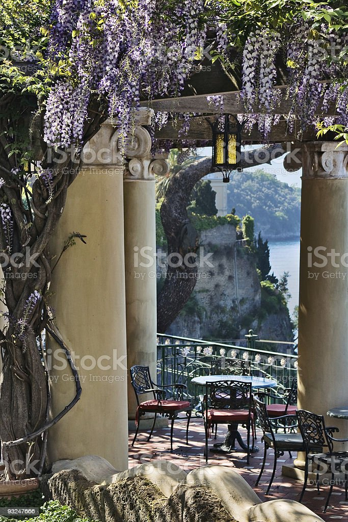 Terrace with view of Sorrento Peninsula, Italy stock photo