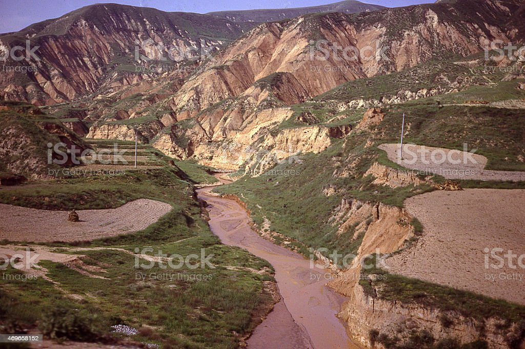 Terraced Fields and Severe Erosion Loess Plateau Inner Mongolia China stock photo