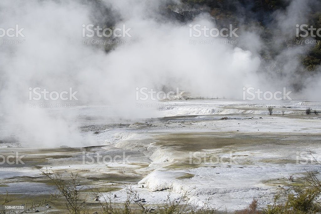 Terraced Geothermal Lava Flow stock photo