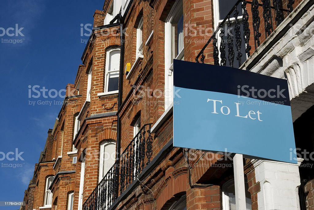 Terraced house TO LET at West-London. stock photo