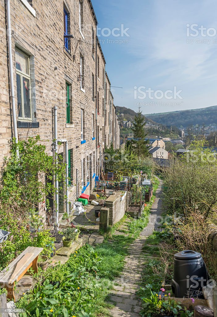 Terraced Houses, Hebden Bridge, Calderdale stock photo