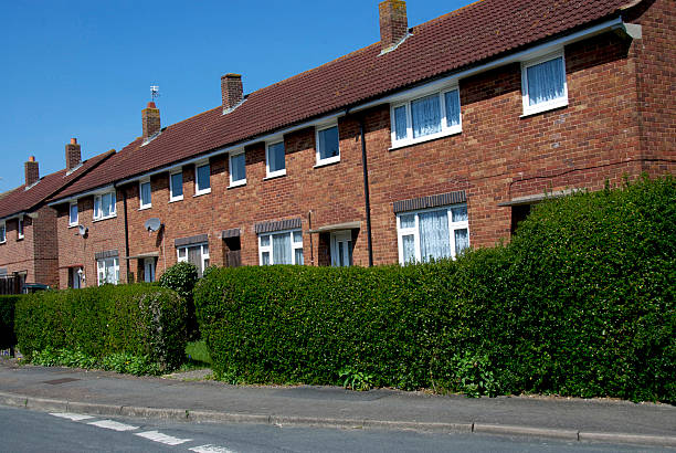 terraced houses in a row - council flat stock photos and pictures
