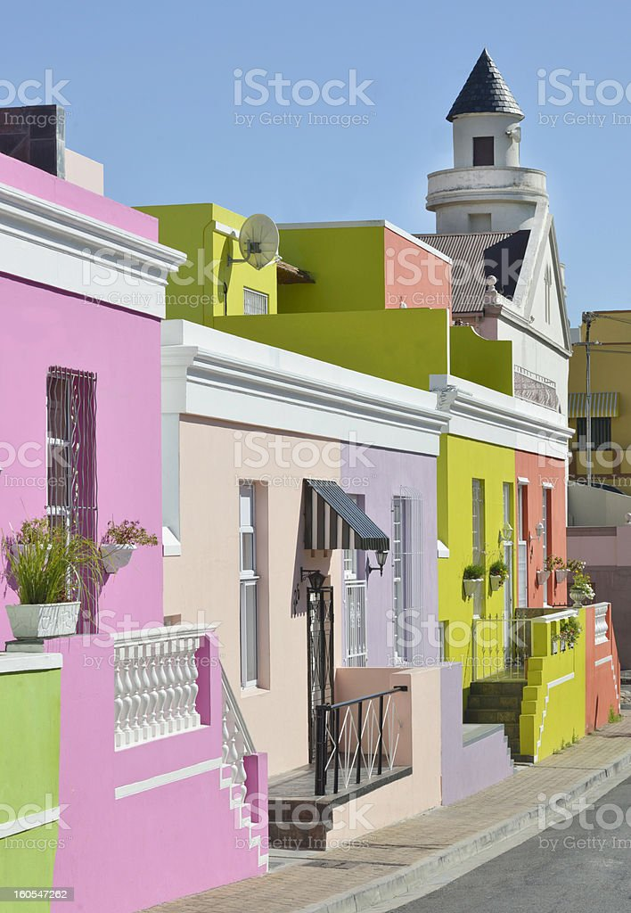 Terraced Houses In Cape Town's BoKaap neighbourhood stock photo