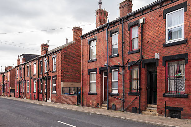Terraced houses in Hyde Park, Leeds stock photo