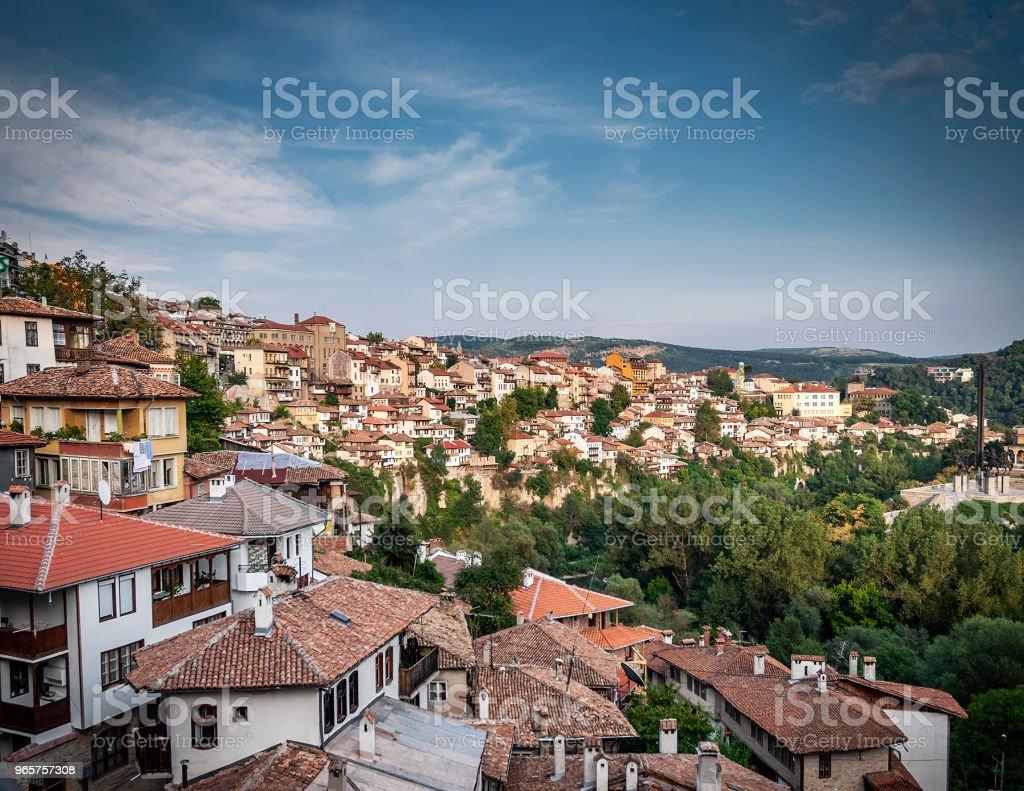 terraced houses in old town of veliko tarnovo bulgaria - Royalty-free Antigo Foto de stock