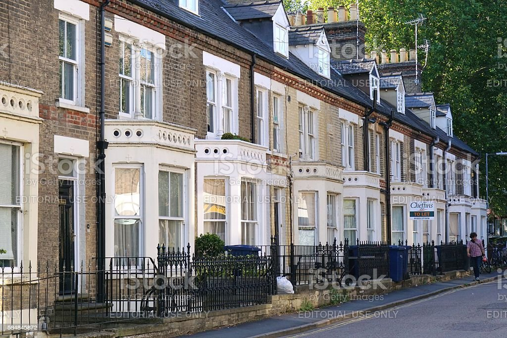 Terraced Houses in Residential street in Cambridge, England stock photo