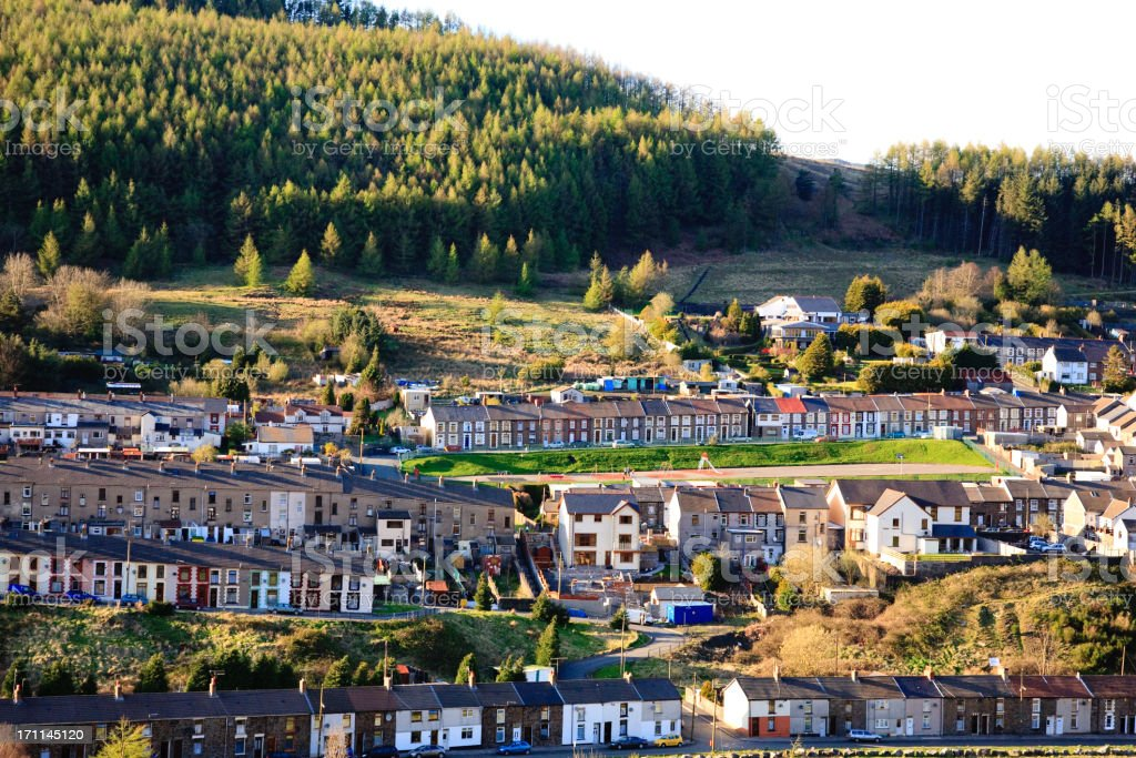 Terraced houses in Rhondda, Wales stock photo