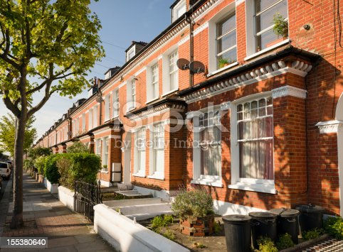 A long row of Victorian houses in the London Borough of Wandsworth.