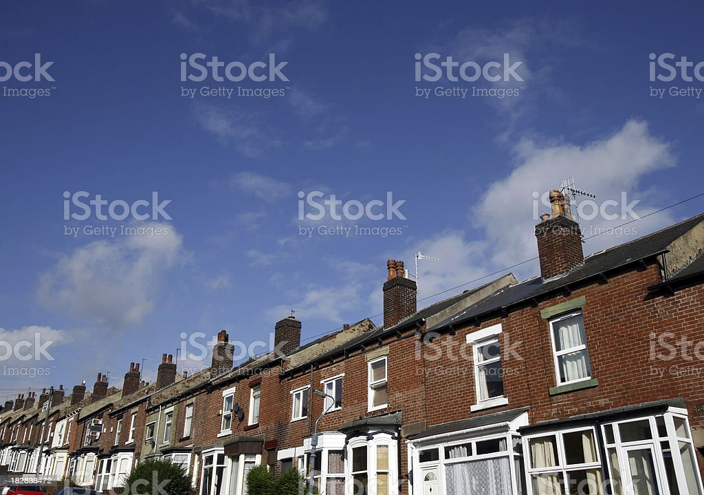 Terraced Houses, Sheffield, England stock photo