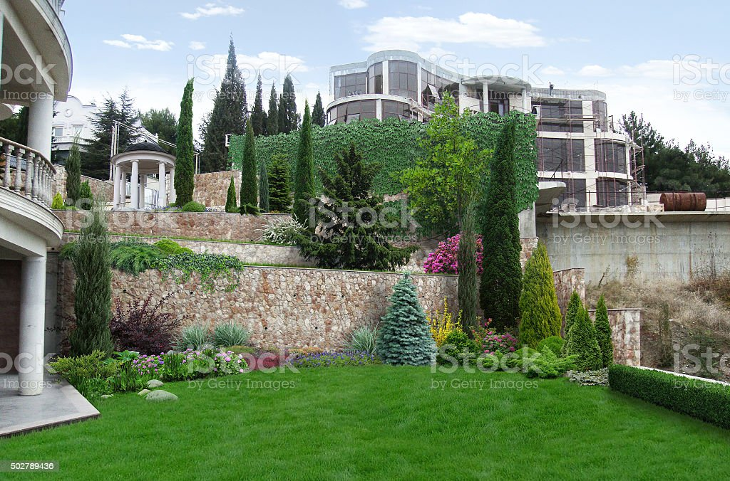 Terraced landscaping integrated into the natural environment. stock photo