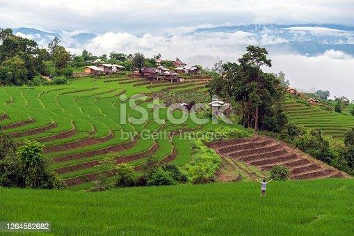 Terraced rice field at Bong Piang in Mae Chaem, Chiang Mai, Thailand
