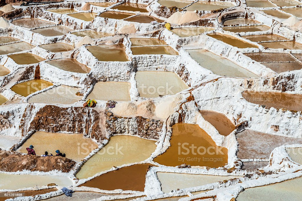Terraced salt mines of Salinas de Maras - Peru stock photo