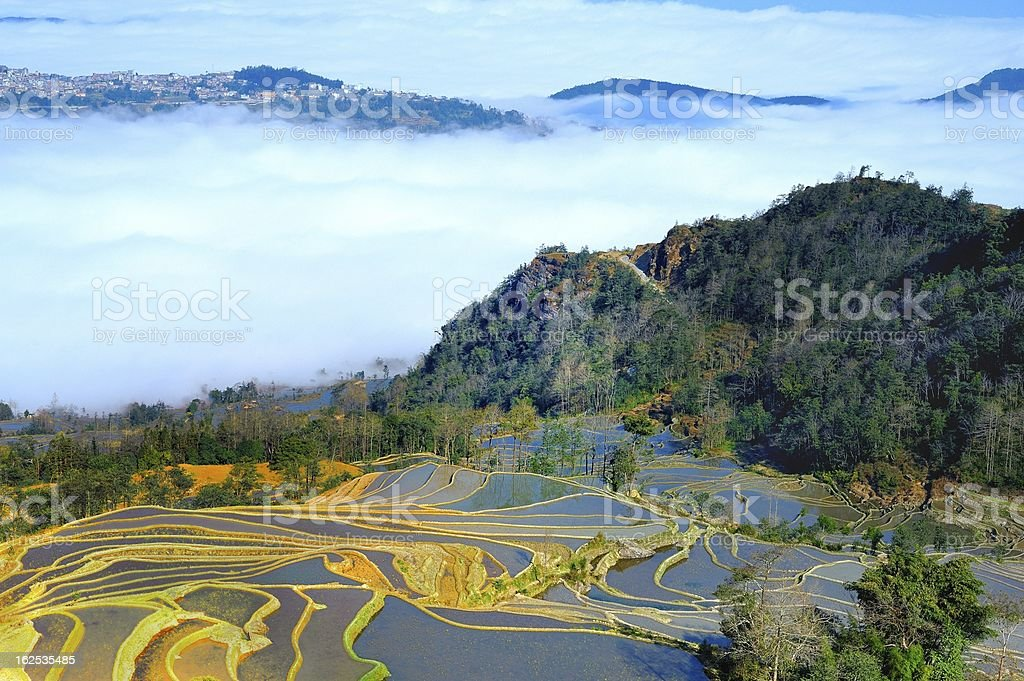 terraces and clouds royalty-free stock photo