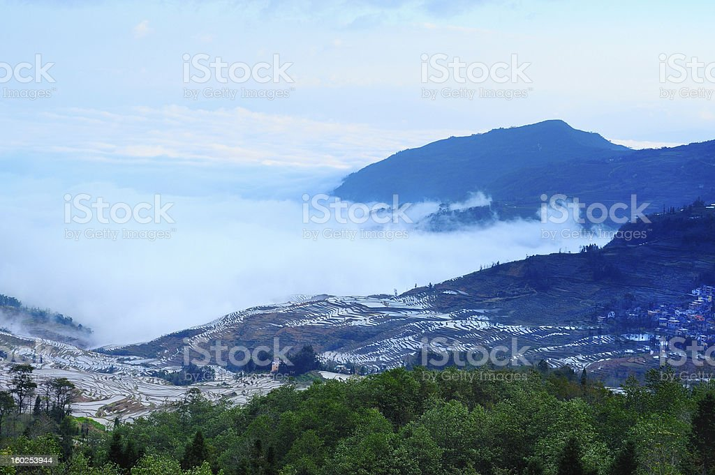 terraces in the clouds royalty-free stock photo