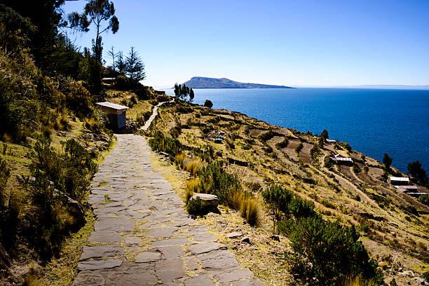 terraces of taquile island, lake titicaca, peru - タキーレ島 ストックフォトと画像