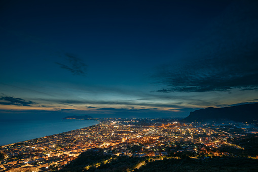 Terracina, Italy. Top View Skyline Cityscape City In Night Illuminations