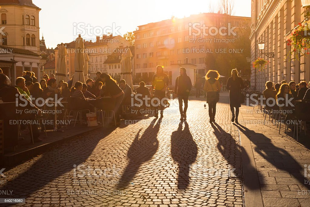 Terracing in Ljubljana city center. stock photo