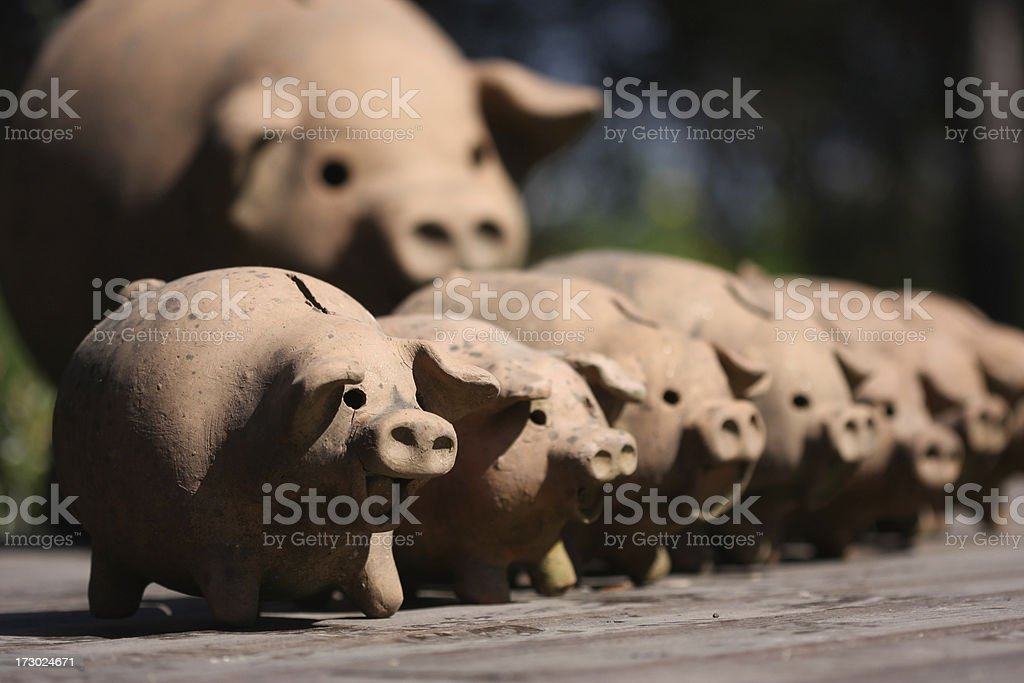 Terracota Piggy Banks stock photo