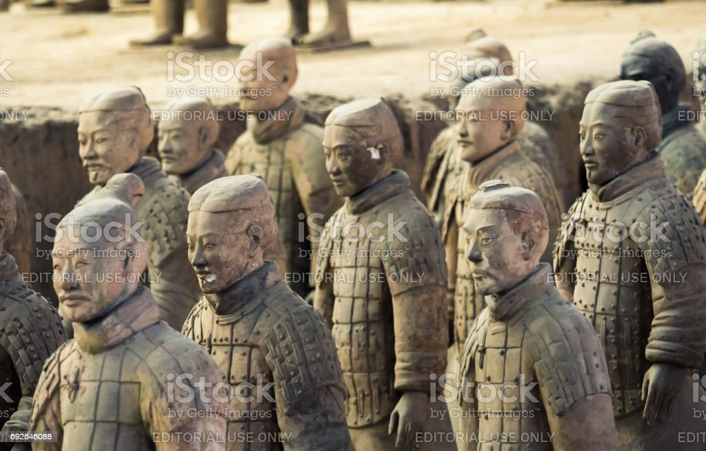 Terracotta Army of soldier sculptures group  in Xian, China stock photo