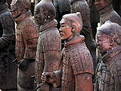 Old Chinese ruins  of terracotta army in Xian