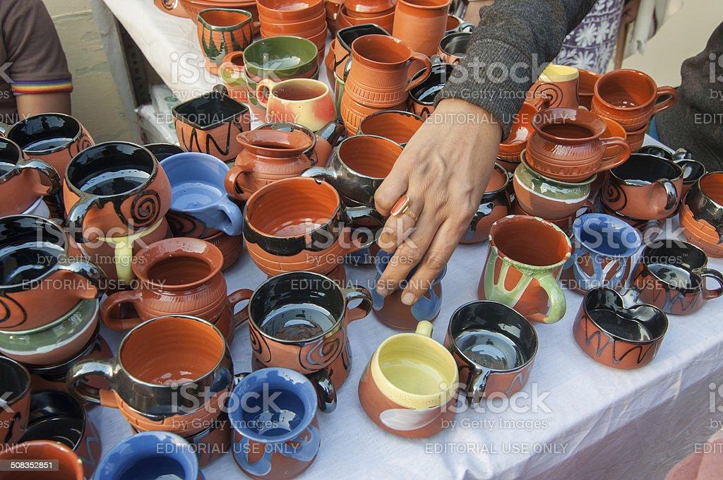 Terracotta Art work , Indian handicrafts fair at Kolkata stock photo