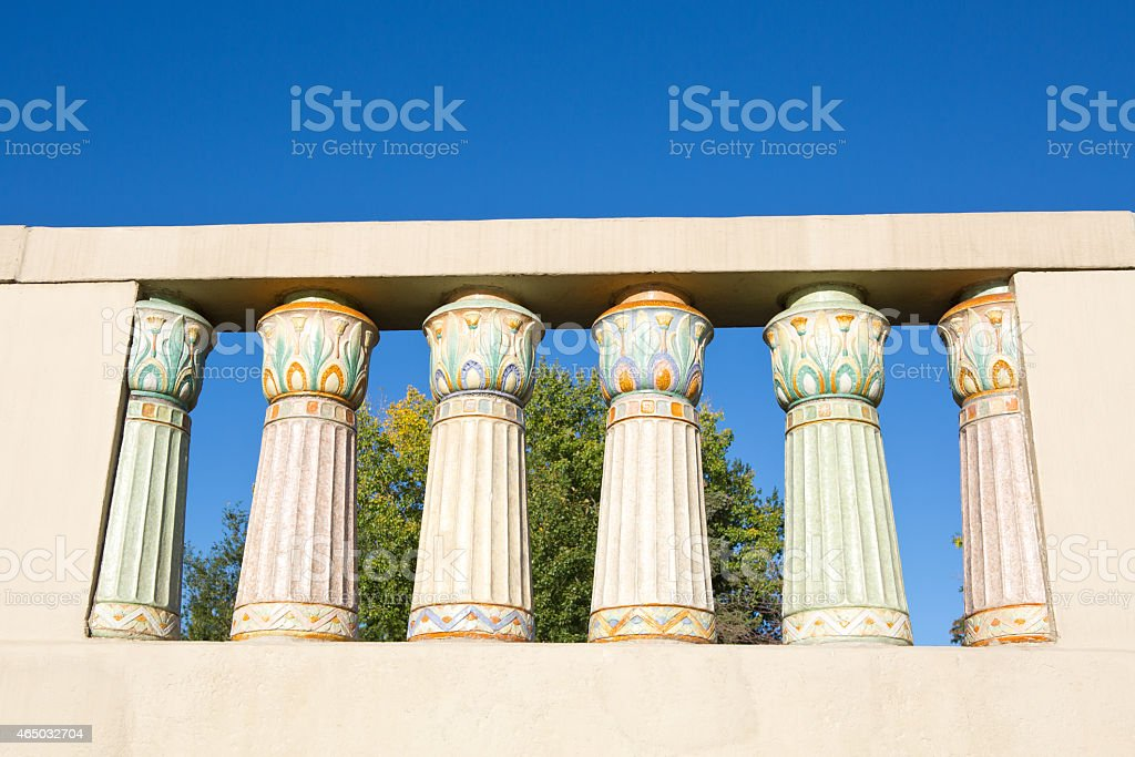 Terracotta balusters on the Albert Memorial Bridge in Regina Saskatchewan stock photo
