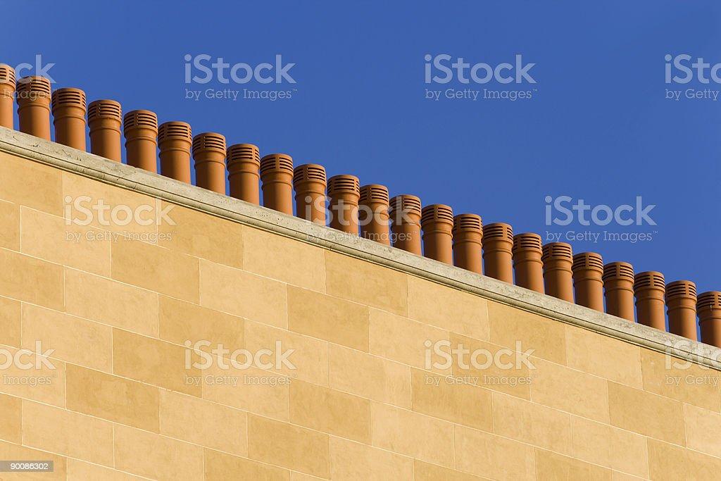 terracotta chimneys stock photo