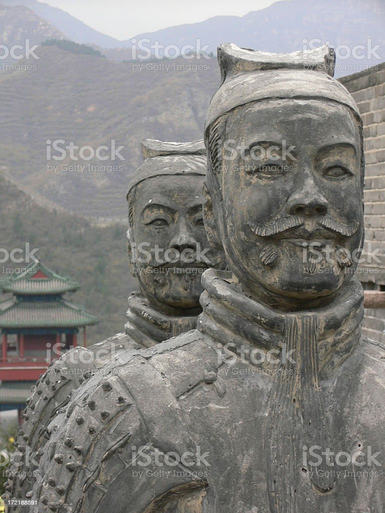 Terracotta Chinese Warrior Stone Statues at Great Wall royalty-free stock photo