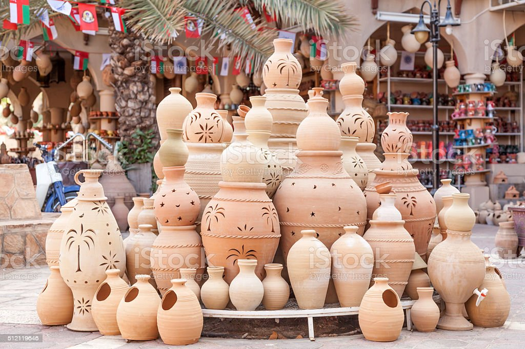 Terracotta pots for sale in Nizwa, Oman stock photo