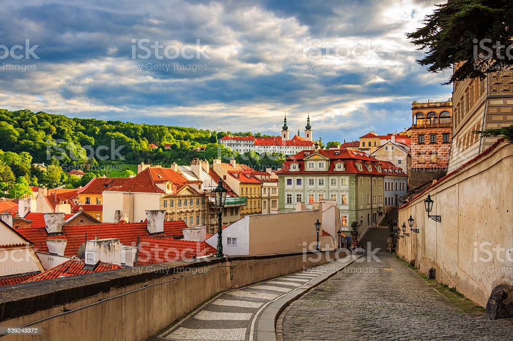 Terracotta red roofs of the city Prague, Prague, Czech Republic royalty-free stock photo