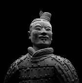 Terracotta Warrior on Black background (Path Isolated)