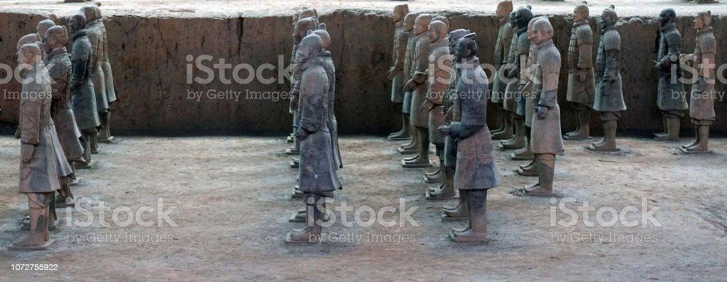 Terracotta Warriors in Xian, China. stock photo