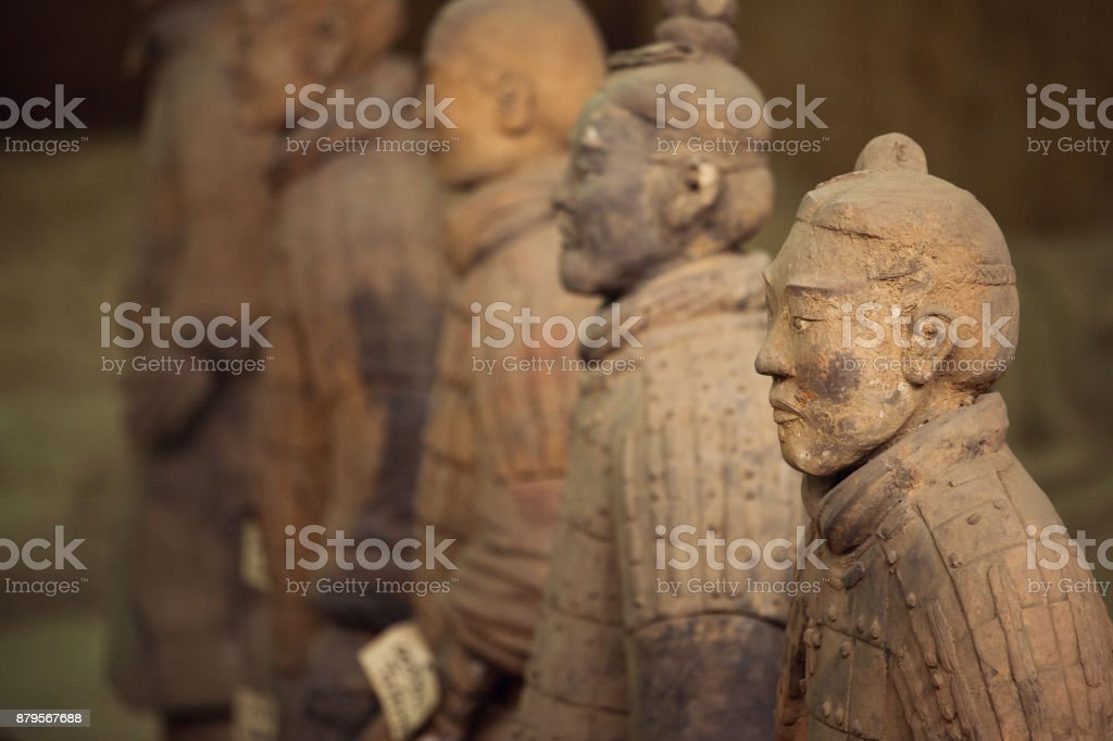 Terracotta Warriors row close up stock photo