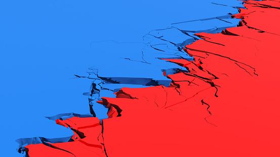 Terrain crack - USA political divide