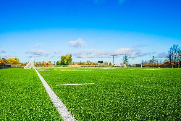Terrain de soccer. stock photo