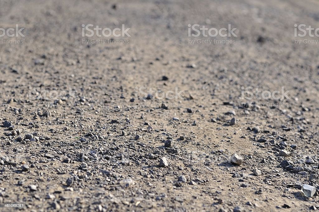 Terrain road with small rocks on the ground stock photo