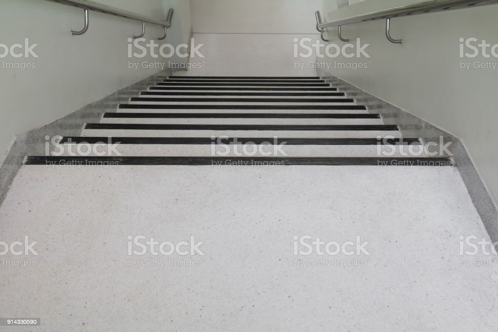 Terrazzo Floor Stairs Walkway Down. Select Focus With Shallow Depth Of  Field. Royalty