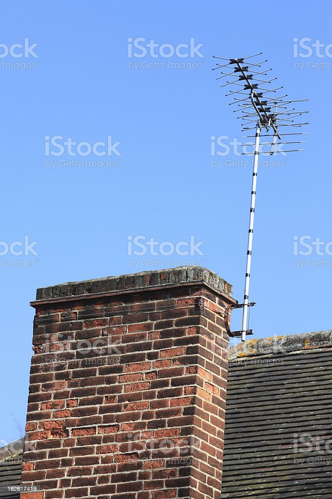 Terrestial Television Aerial on roof top chimney stock photo