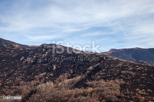 Dark, scorched, burnt ground on the highlands of a mountain, autumn colors of remaining trees and blue sky above Old mountain in Serbia