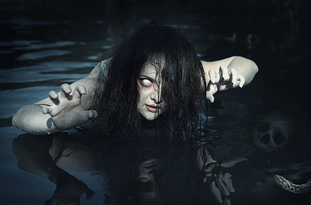 terrible dead ghost woman in the water - ugly girl stock photos and pictures